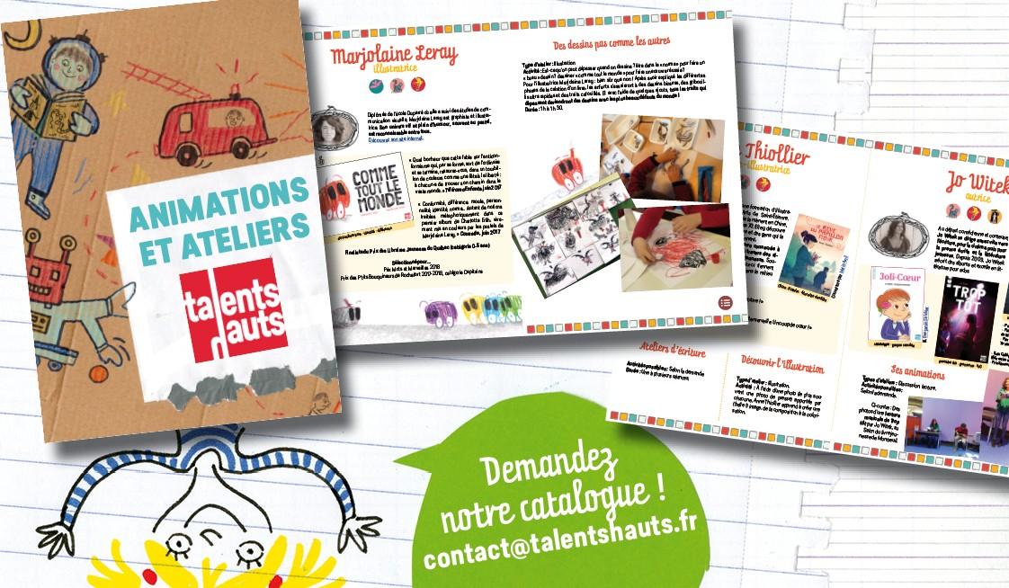 Catalogue d'ateliers et d'animations des auteurs et autrices de Talents Hauts